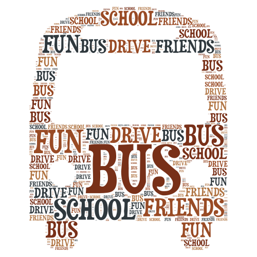Bus word cloud art
