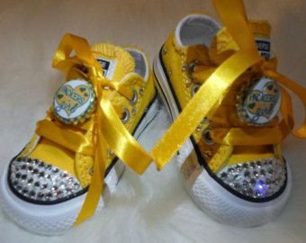Green Bay Packers packer green gold sparkle football shoes WI sports Cheerleader Crystals game day Rhinestone converse  Infant/Toddler/Youth