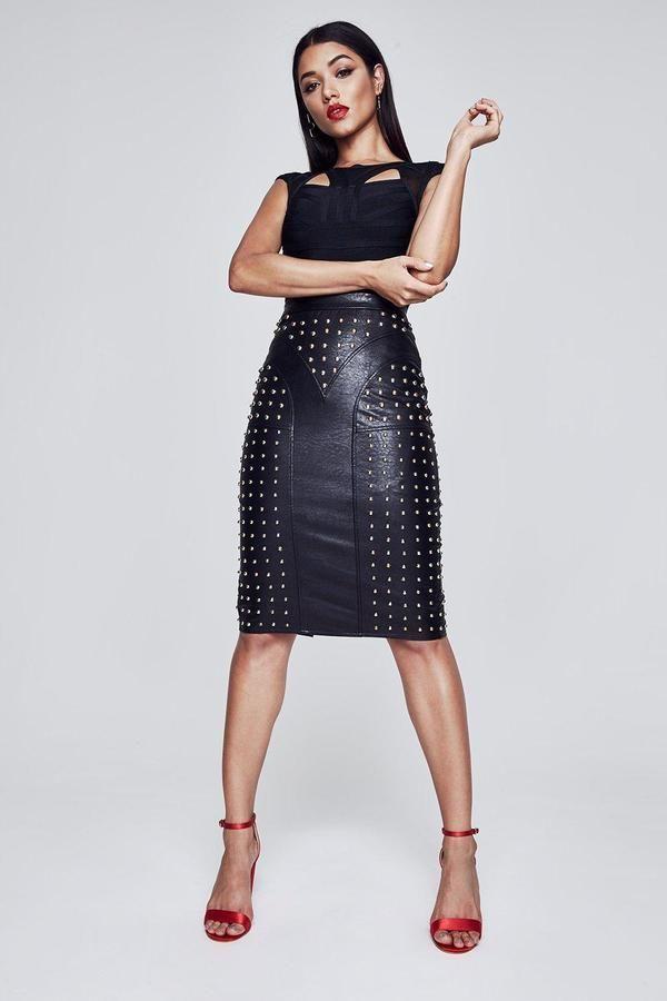 830c2ac8d9 Premium Christina Zip Through Studded Pencil Skirt | Products ...