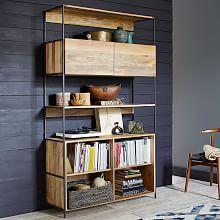 Industrial Modular Media Console (67 ) is part of Industrial Living Room Storage - Made from richlygrained solid mango wood and supported by blackened steel frames, our Industrial Modular Storage Collection combines form, function and versatility  It offers plenty of media storage and shelving space, while its freestanding design…