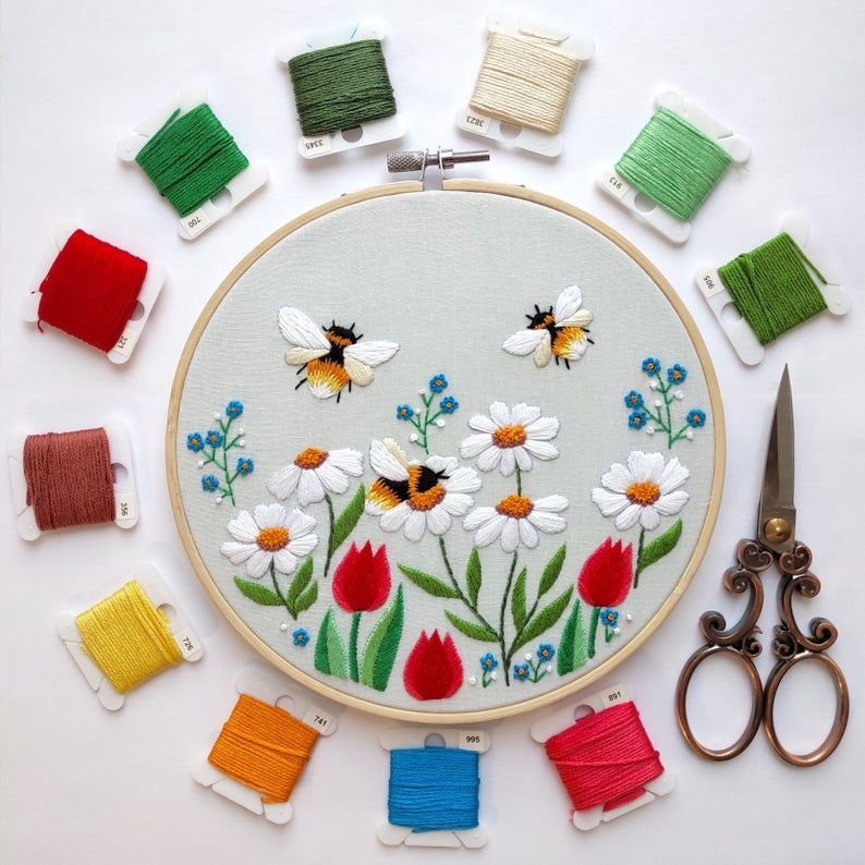 Busy Bees Hand Embroidery Pattern | Digital Download PDF | Contains Detailed Instructions + Complete Video Tutorials