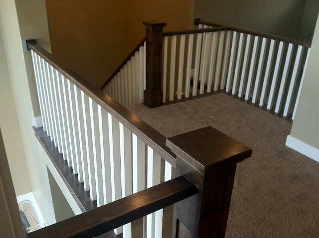 Love The Dark Newel Posts And Handrails With The White Simple Railing Home New Homes Painting Wood Trim