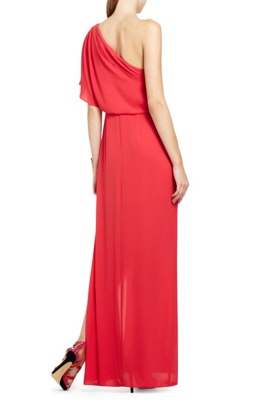 c19f64fc3d BCBG Max Azria Kendal One-Shoulder Ruffle Red Evening Gown