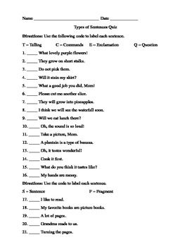 Types Of Sentences Quiz Types Of Sentences Quiz Types Of