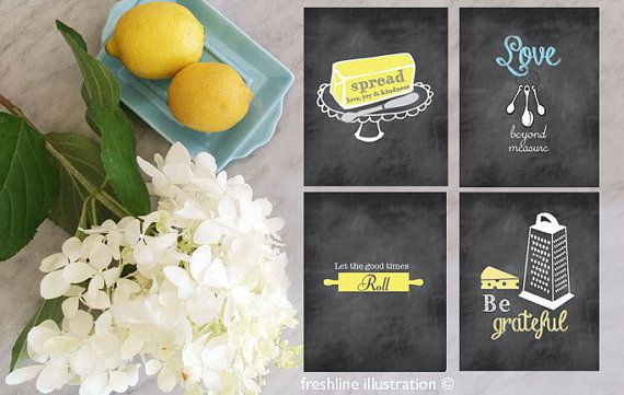 Chalkboard Inspired Kitchen Art Set Funny Kitchen by Freshline