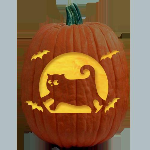 Bat Cat Pumpkin Carving Pattern - The Pumpkin Lady