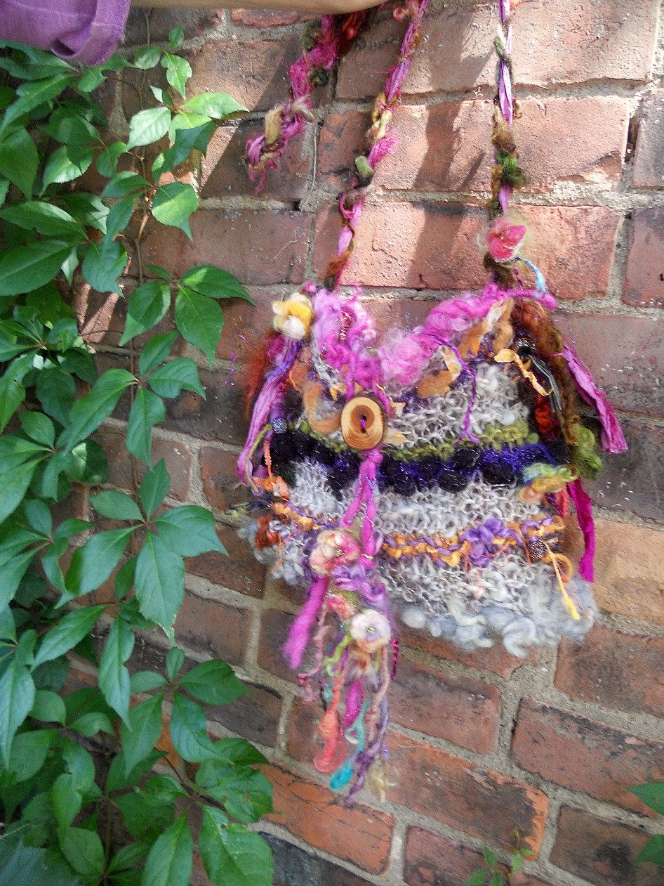 rustic handknit art yarn gypsy shoulder boho bag by beautifulplace