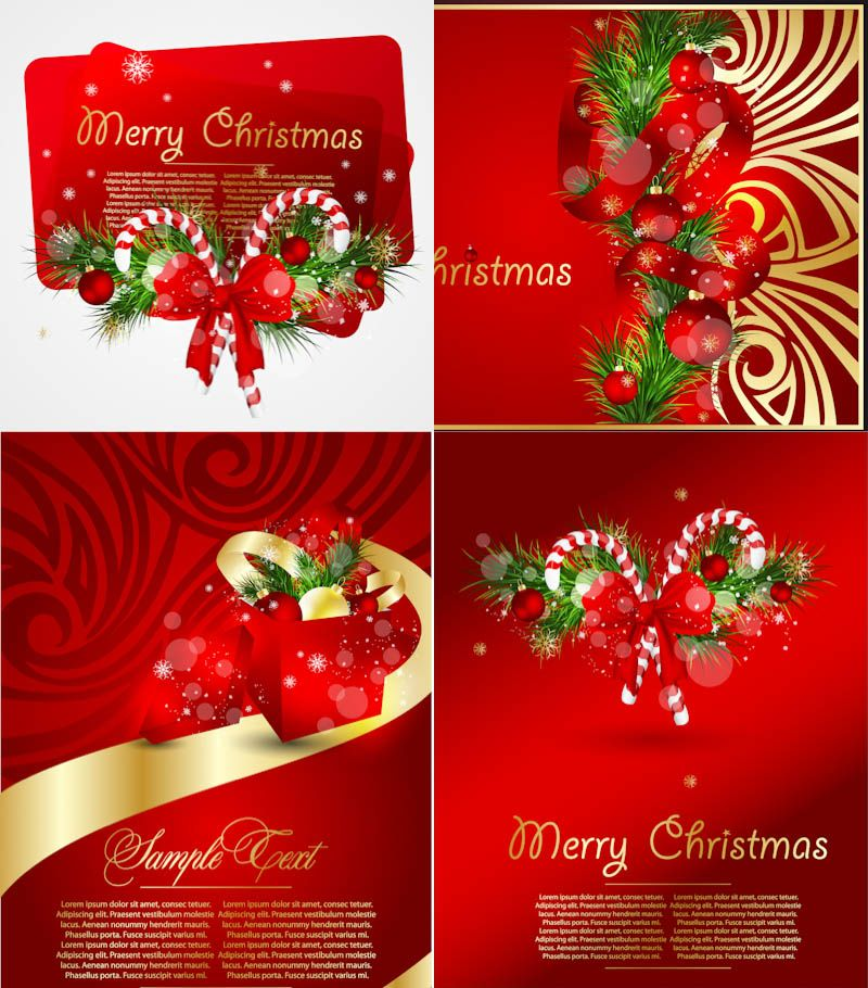 set of vector red christmas backgrounds with gilded ornaments ribbons candies and christmas trees for your greeting card designs posters