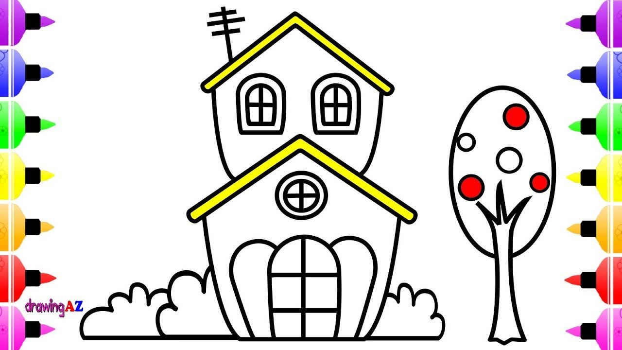 Cute House Coloring Pages For Kids Art Colour For Kids With