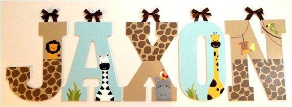 "Hand-Painted Nursery Letters LARGE (Lambs & Ivy ""Peek A"