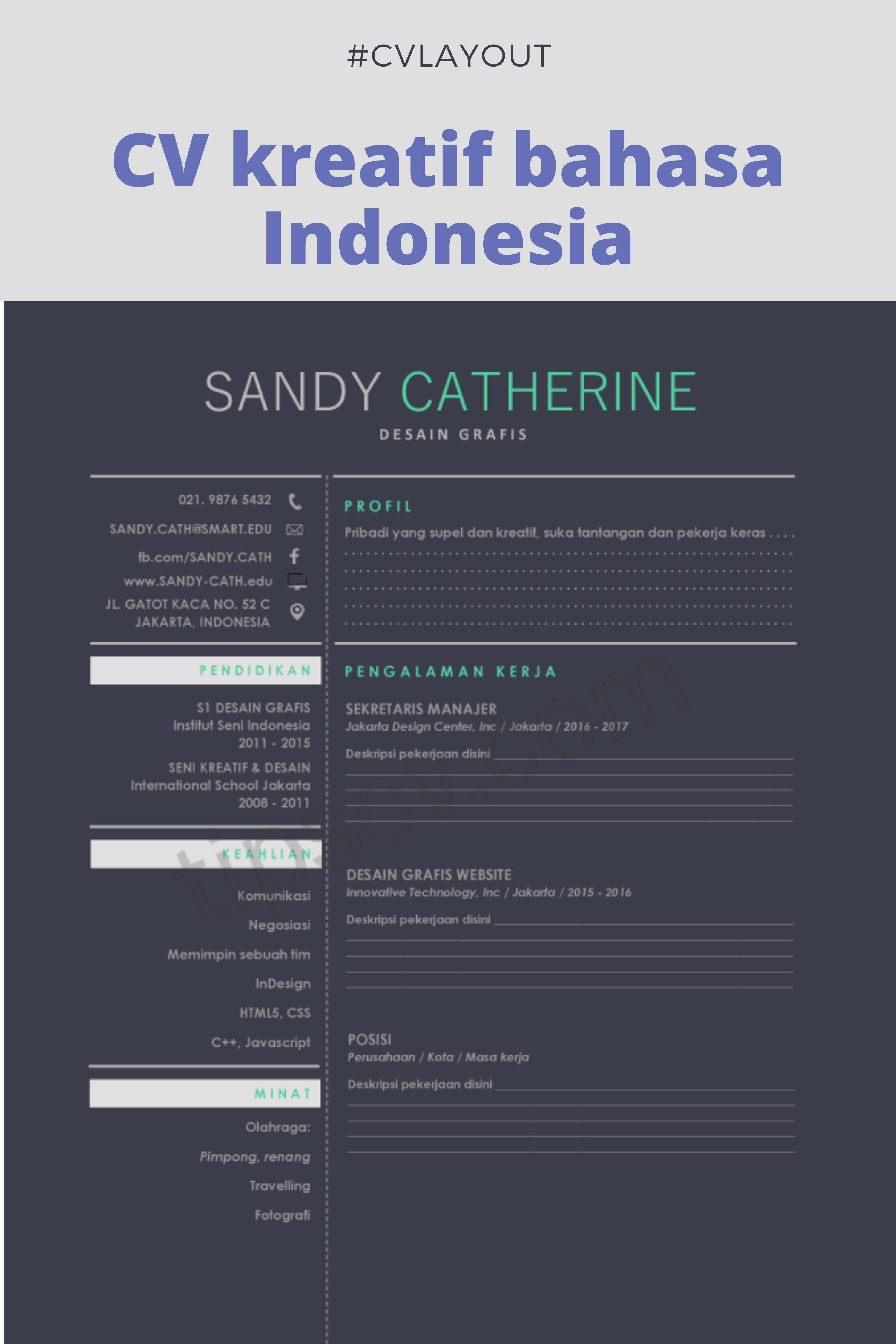 Contoh CV Kreatif Bahasa Indonesia Doc Pdf di 2020 Cv