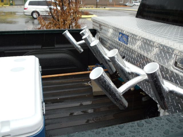 Truck bed toolbox rod rack the hull truth boating and for Fishing rod holder for truck