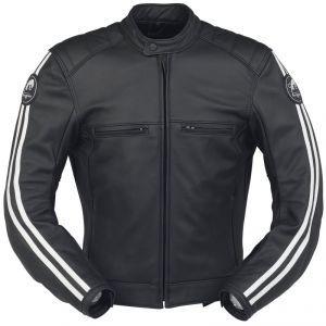 Bikers Gear UK Caf/é Racer Noir /& Blanc Cuir Cowhide Moto