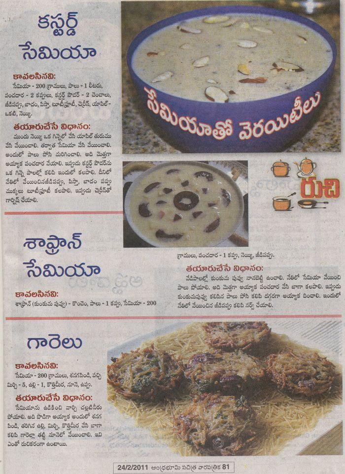 Telugu vantalu telugu recipes vantakalu custard semiya telugu vantalu telugu recipes vantakalu custard semiya shafran shemiya semiya garelu semiya kesari semiya payasam sweet semiya bath recipe forumfinder Images