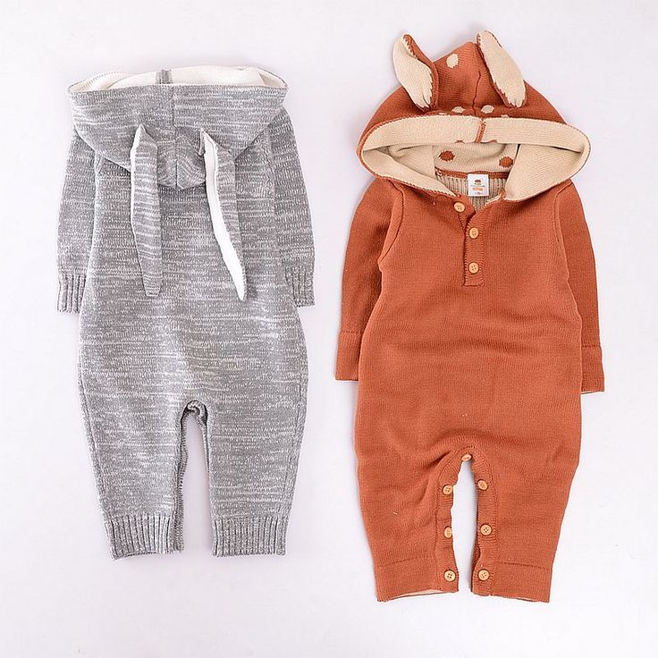 Baby Boy Girl Autumn Winter Long-Sleeves Rompers Cartoon Cotton Jumpsuit