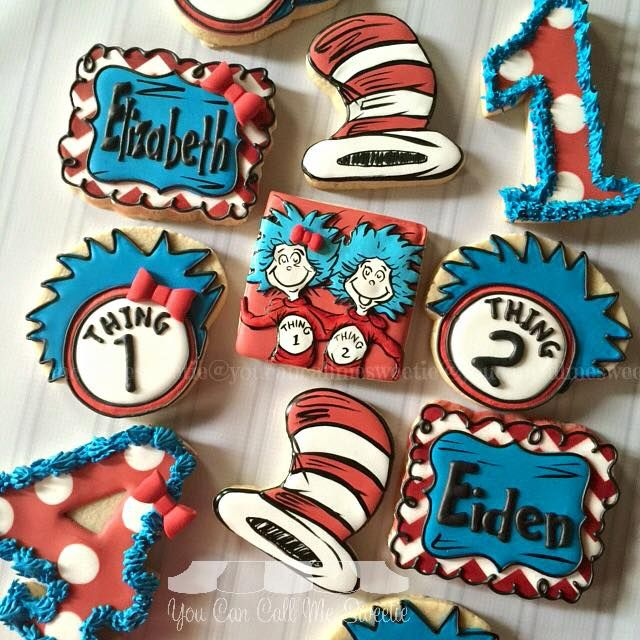 Incredible Superb Thing 1 And Thing 2 Birthday Cookies With Images Funny Birthday Cards Online Necthendildamsfinfo