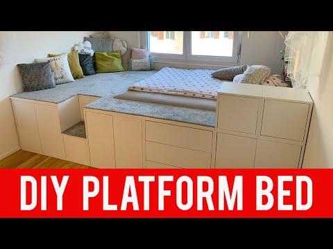 Ikea Diy Hack Platform Bed Youtube In 2020 Ikea Platform Bed