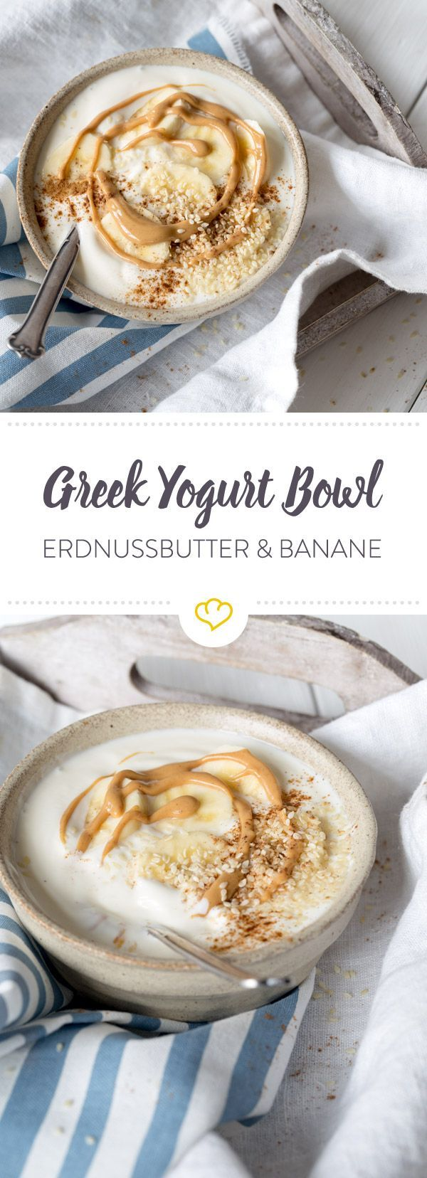 Greek Yogurt Bowl mit Erdnussbutter und Bananen #peanutrecipes