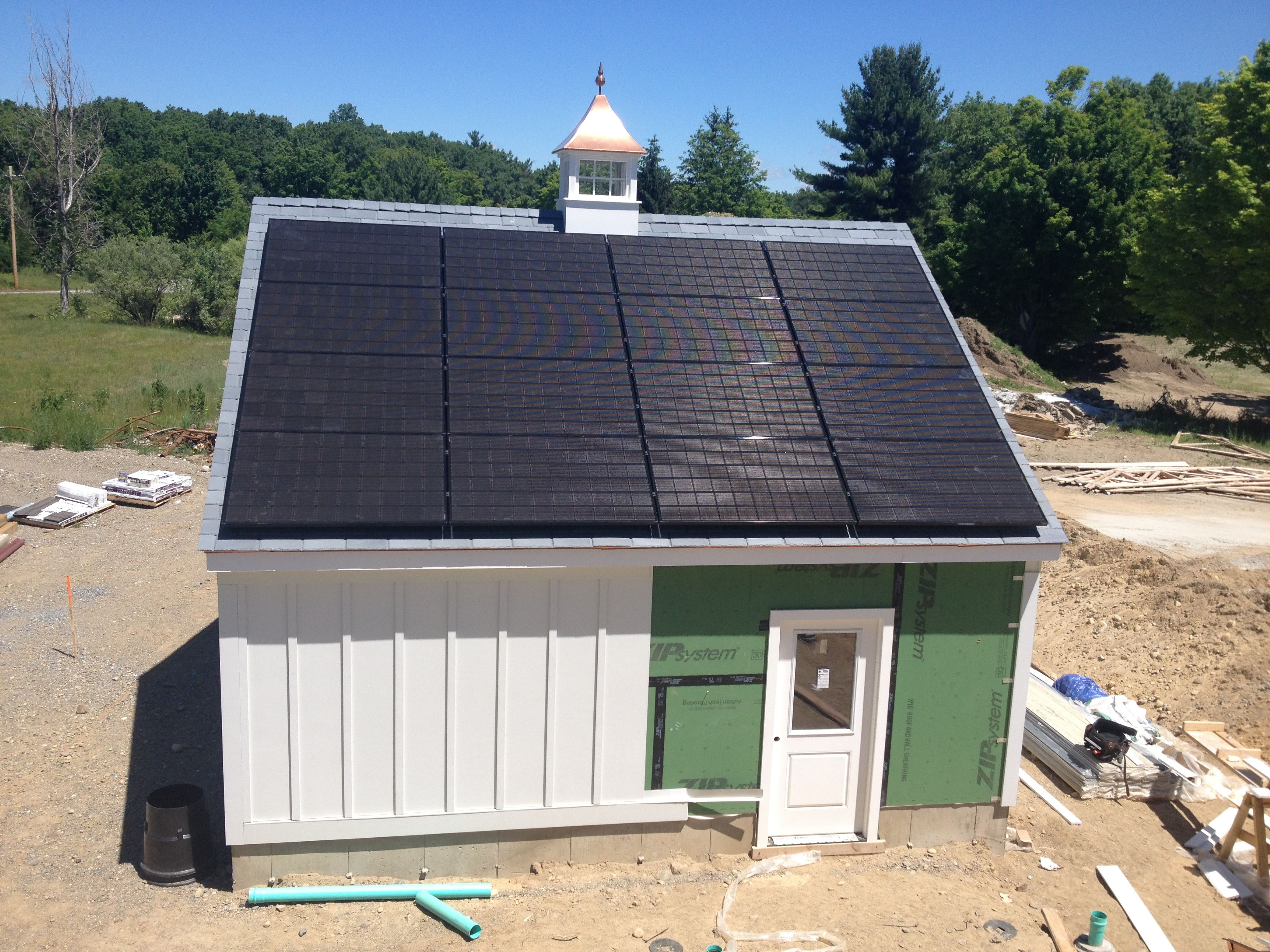 The Solar Panels Are On These 16 High Efficiency Black Photo Voltaic Panels By Sunbug Solar Will Provide Up To A Third O Studios Architecture Solar Old Houses