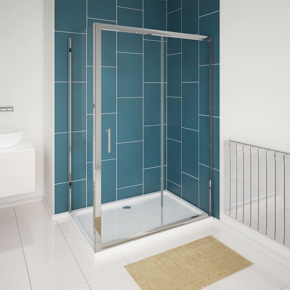 6mm Glass Walk in Single Sliding Chrome Shower Enclosure Cubicle ...