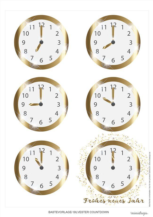 Silvester Countdown – Uhr zum Ausdrucken