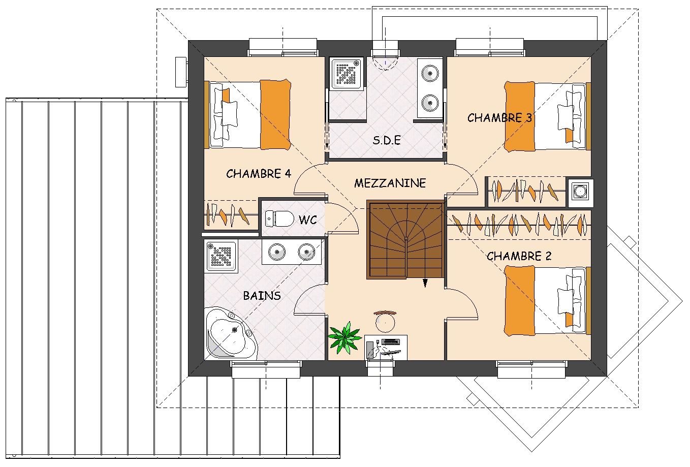 plan de maison contemporaine 4 chambres avec dressing et garage plan maison pinterest plan. Black Bedroom Furniture Sets. Home Design Ideas