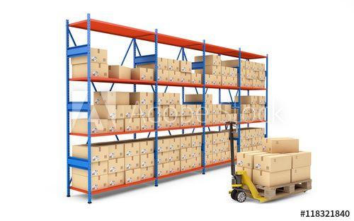 Warehouse Rack Full Of Cardboard Boxes 3d Rendering Cardboard Box Warehouse Shelving Cardboard