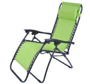 Outsunny Zero Gravity Recliner Lounge Patio Pool Chair Lime Green Lawn Garden