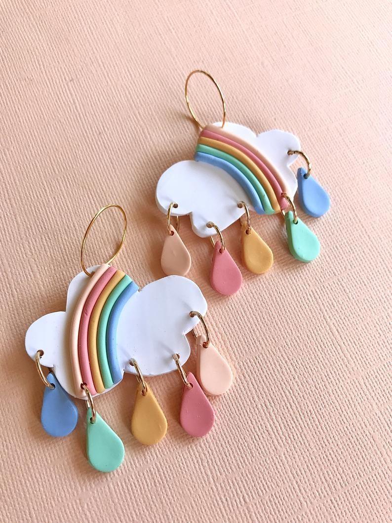 OOAK Pink Flower Earrings Artisan Ceramic Colorful Pastel Earrings Cute Easter Bunny Earrings Blue Rabbit Whimsical Rabbit Earrings