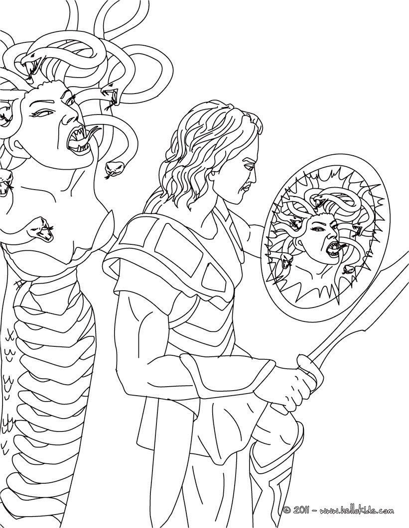 Greek Myths And Heroes Coloring Pages Myth Of Perseus And Medusa Perseus And Medusa Coloring Pages Greek Mythological Creatures