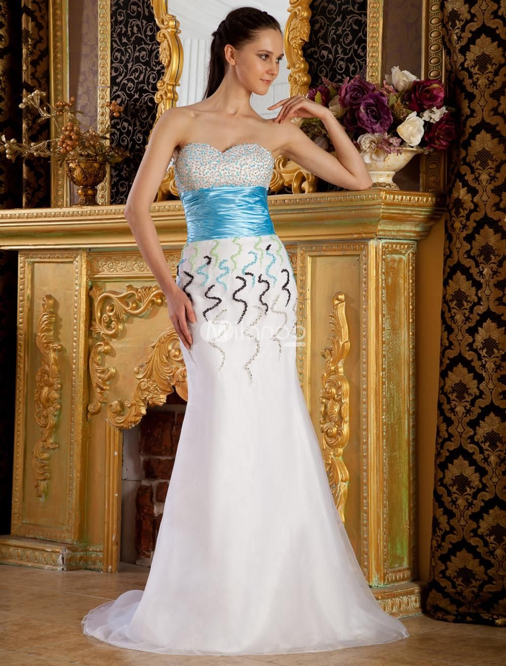 A-line White Net Paillette Decoration Sweetheart Prom Dress. Blue white gradient color brings you romantic feeling. Strapless sweetheart design in a-line silhouette catches everyones eyes. Wrapped waistline and paillette decoration are excellent for adding the glamorous statues.P.. . See More A-line at http://www.ourgreatshop.com/A-line-C938.aspx