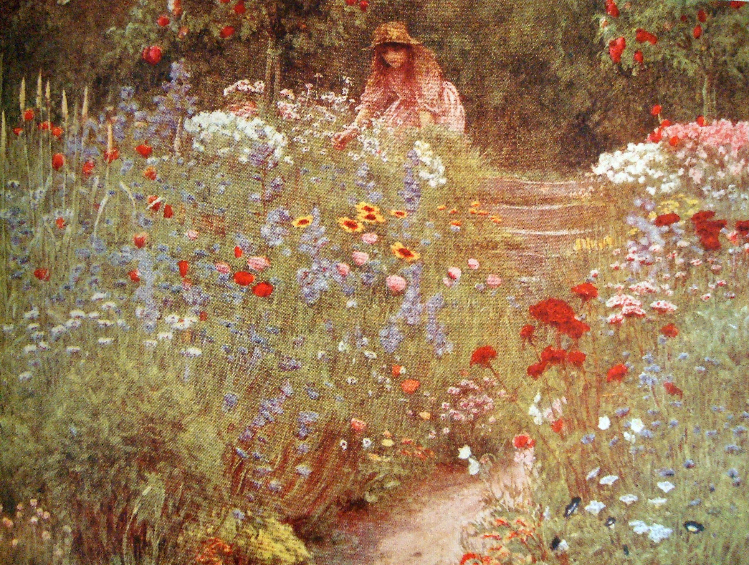 English Cottage Garden By Helen Allingham Gartenmalerei Gartenkunst Englische Land Garten