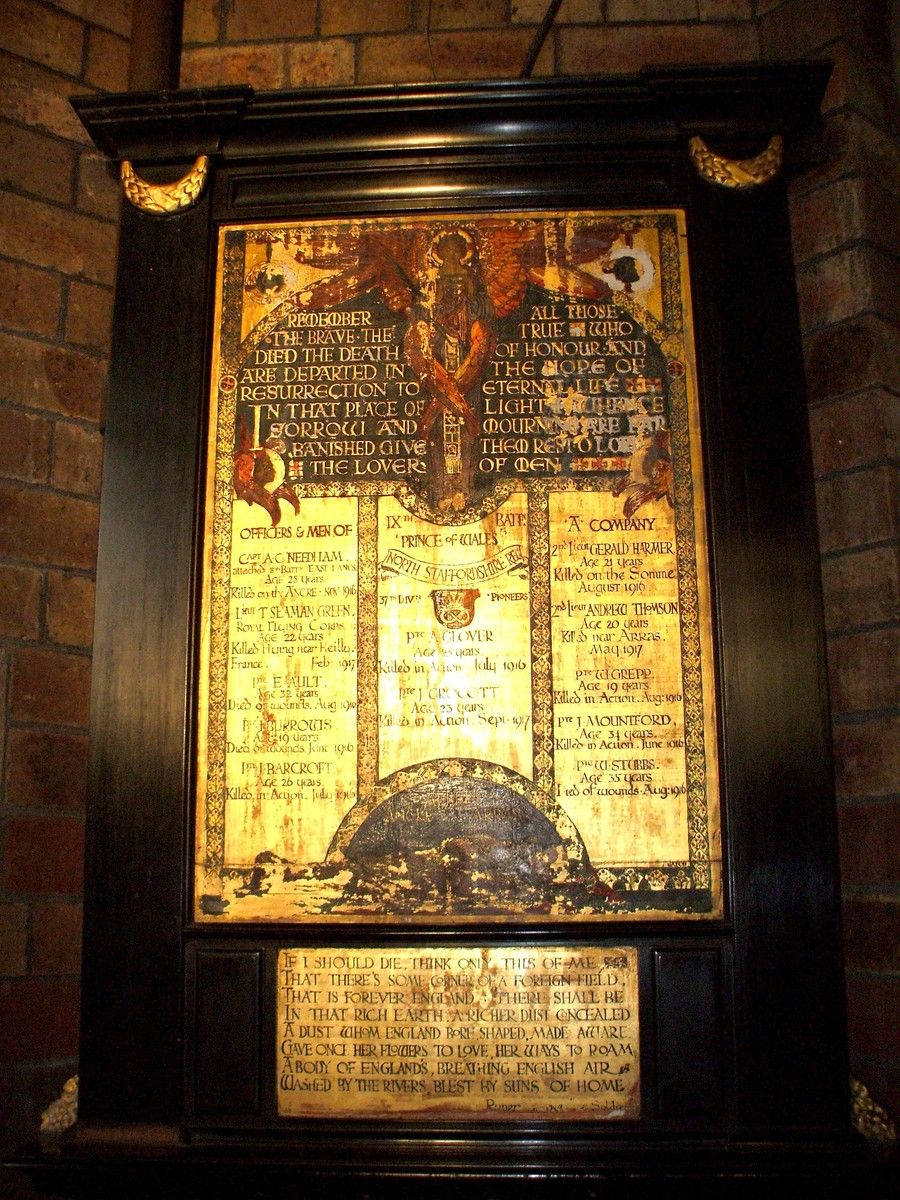Fenton War Memorial inside Parish Church in Staffordshire | War ...