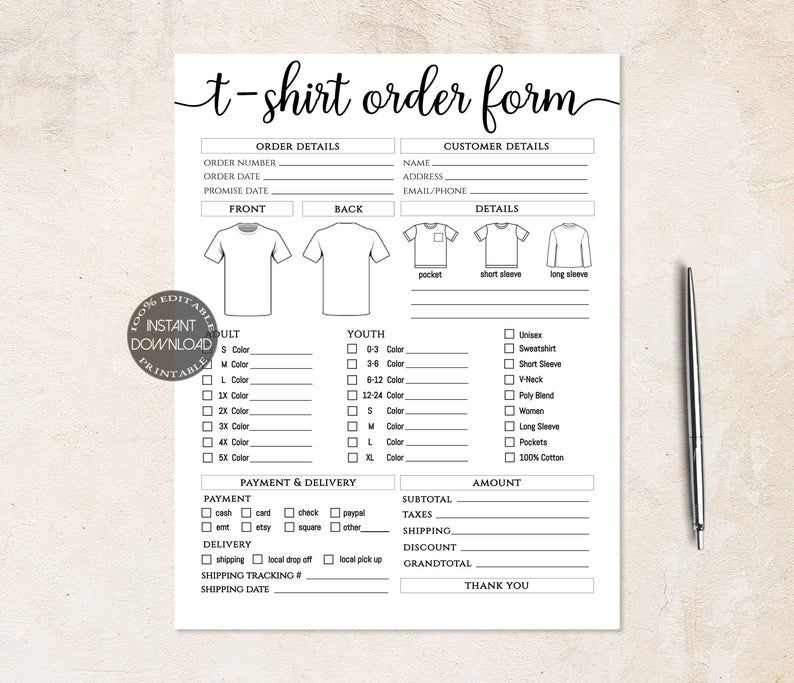 Tshirt Order Form Editable Template Craft Business Order Etsy In 2021 Templates Order Form Order Form Template