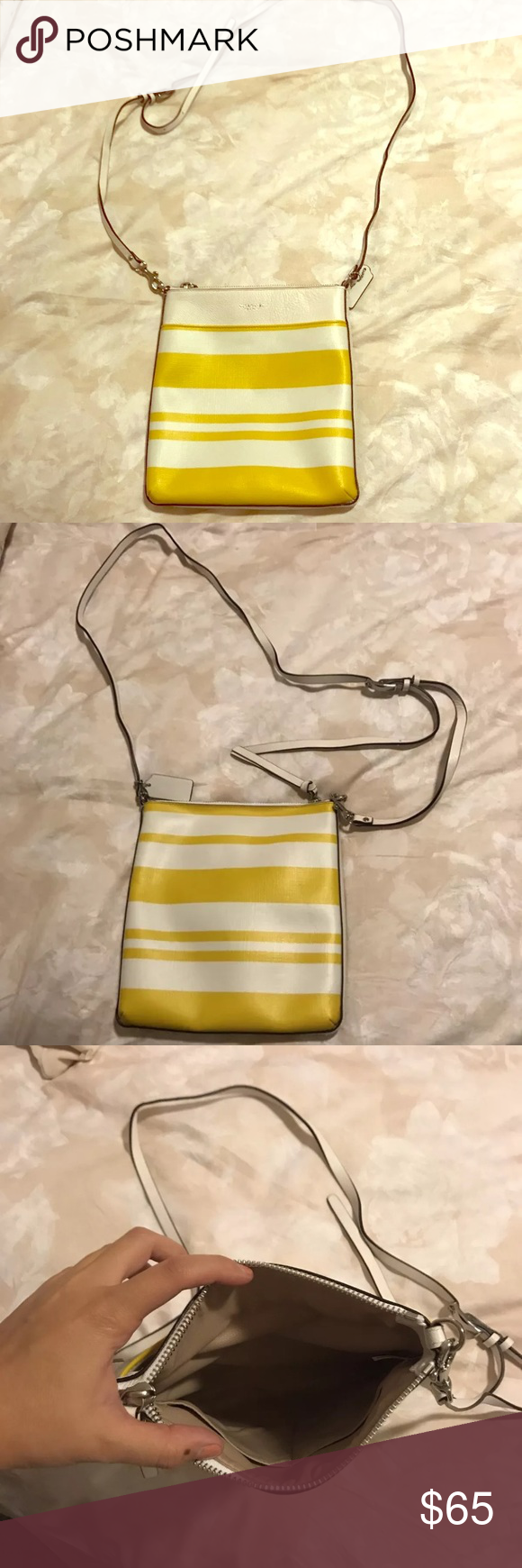 b9628ce382 Yellow and White Small Striped Coach Crossbody This coach crossbody was  given to me as a Christmas present and I ve never worn it.