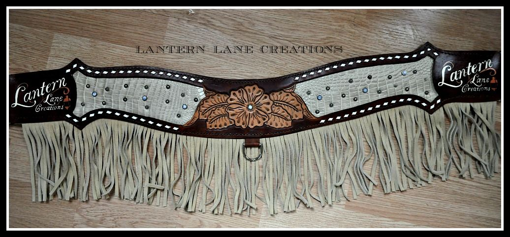 Details about  /Challenger Western Tack Sunflower Tooled Leather Wither Breast Collar Strap