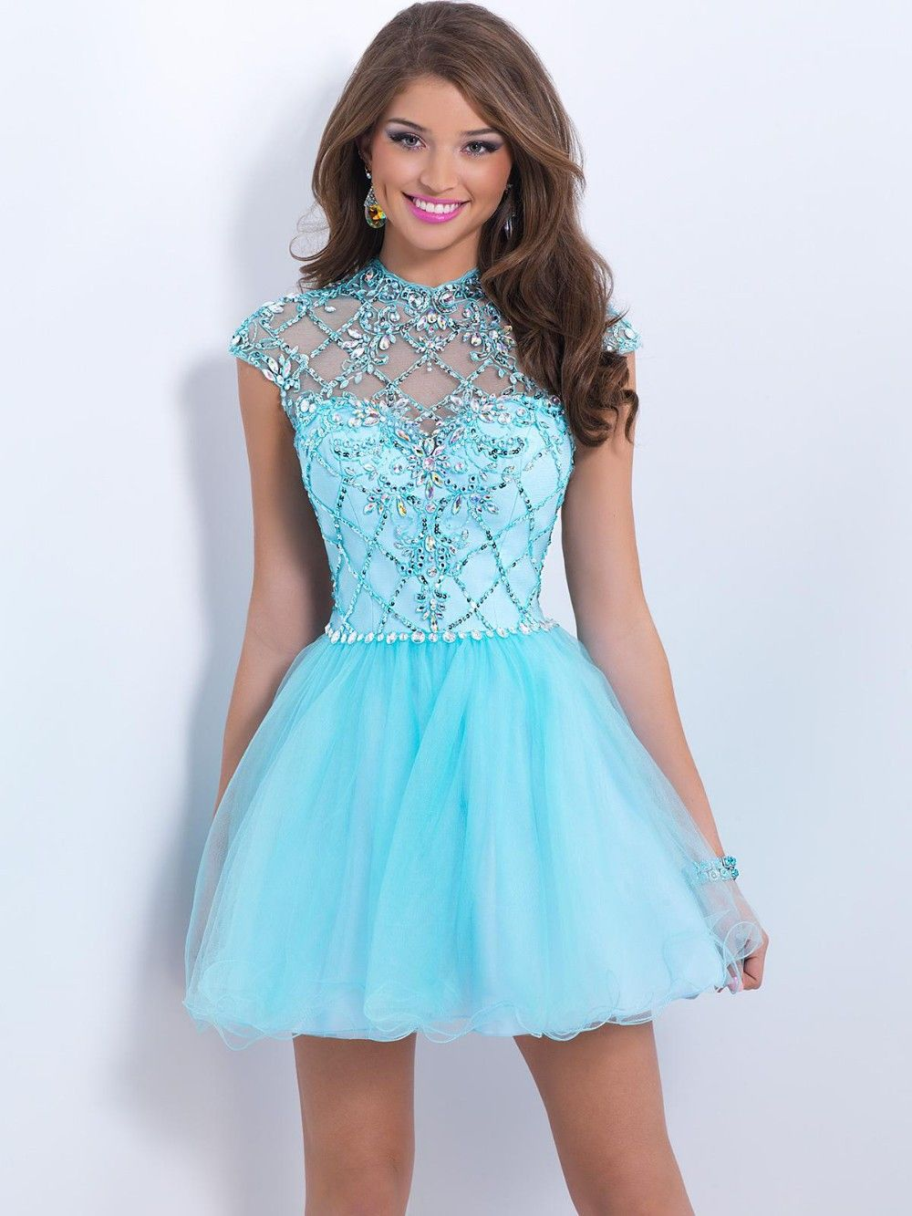 Pretty Homecoming Dresses Crystal Illusion High Neckline With ...