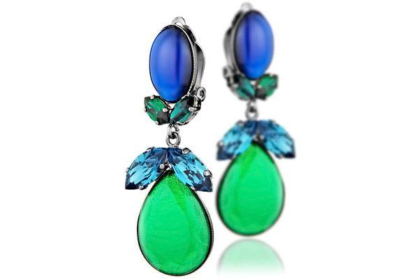 Boucle d'oreille femme verte