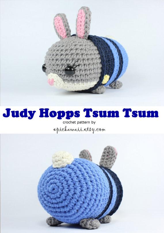 PATTERN: Judy Hopps Zootopia Tsum Tsum Crochet Amigurumi Doll ...