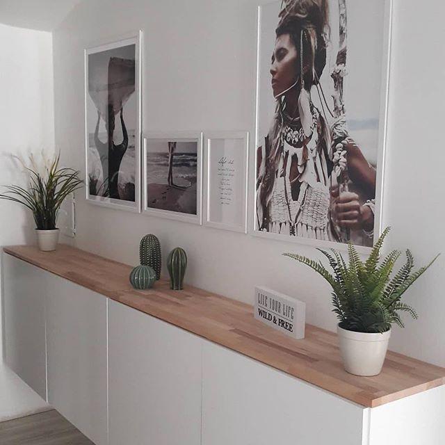"""DIY Wohnideen on Instagram: """"Sehr schön gemacht von @kirstinmir ・・・ #meinikea #knoxhult #flur #schmalerflur #interior #interiorinspo #wanddeko #wandbilder #poster #ikea…"""""""