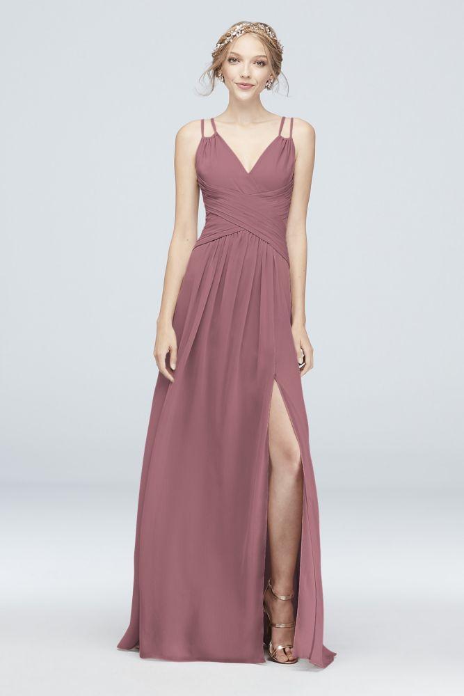 66585345178e3 Plunging V-Neck Crinkle Chiffon Bridesmaid Dress Style F19837, Quartz, 16
