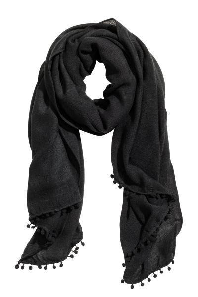 disponibile 493e5 db929 Sciarpa in tessuto: Sciarpa in morbido tessuto con frange a pon ...