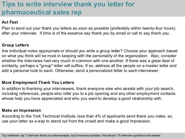 Pharmaceutical Sales Rep Thank You Note After Phone Interview Free