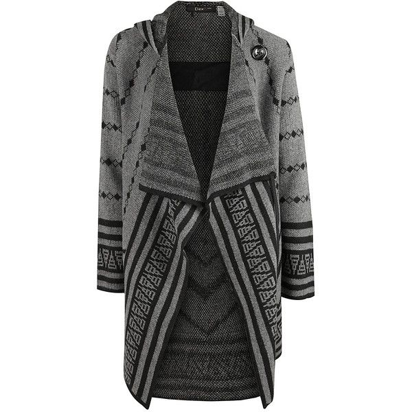 Dex Gray Geometric Drape Open Cardigan ($40) ❤ liked on Polyvore featuring tops, cardigans, open drape cardigan, open cardigan, grey open front cardigan, gray open front cardigan y grey cardigan