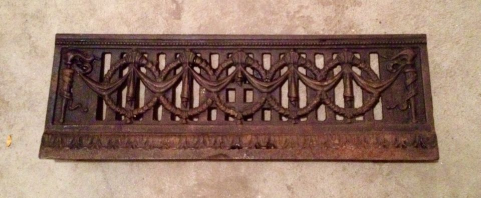 "Antique fireplace vent fragment - can stand alone or hang. 30""w x 7""h SOLD"
