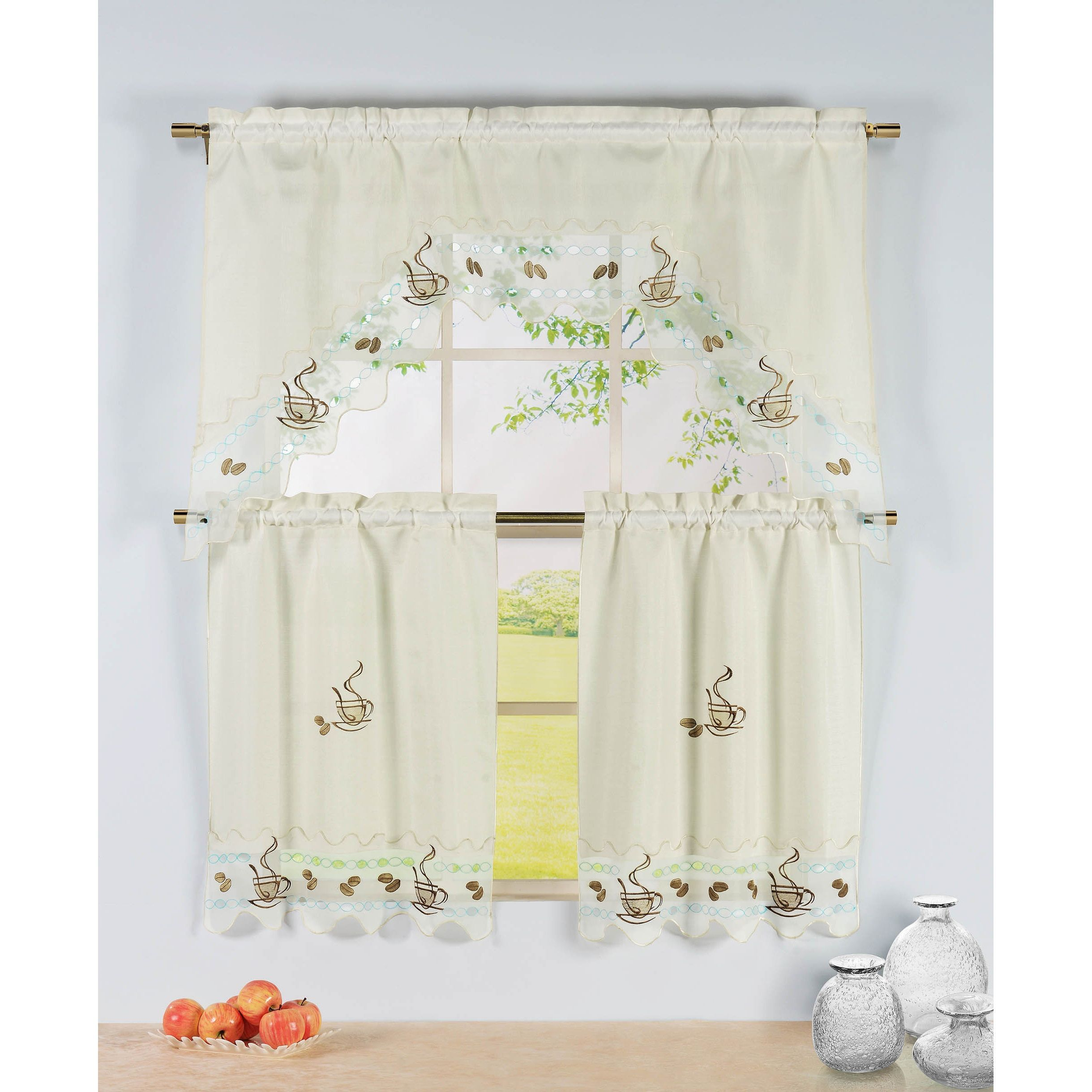 Window elements embroidered inch kitchen tier with scalloped