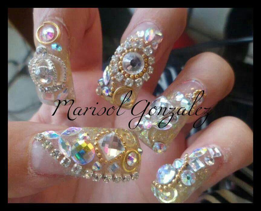 Super Nail estilo Sinaloa. Dorado, glitter, Zwarovzky, cadena ...
