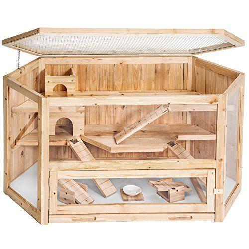 Tectake grande cage en bois pour petits rongeurs 3 étage