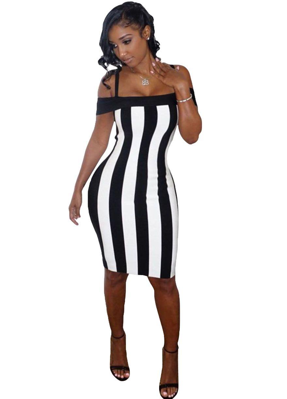 69b0df999 Black White Stripes Off Shoulder Midi Dress With Straps Midi  Dress Dresses Sexy Lingeire