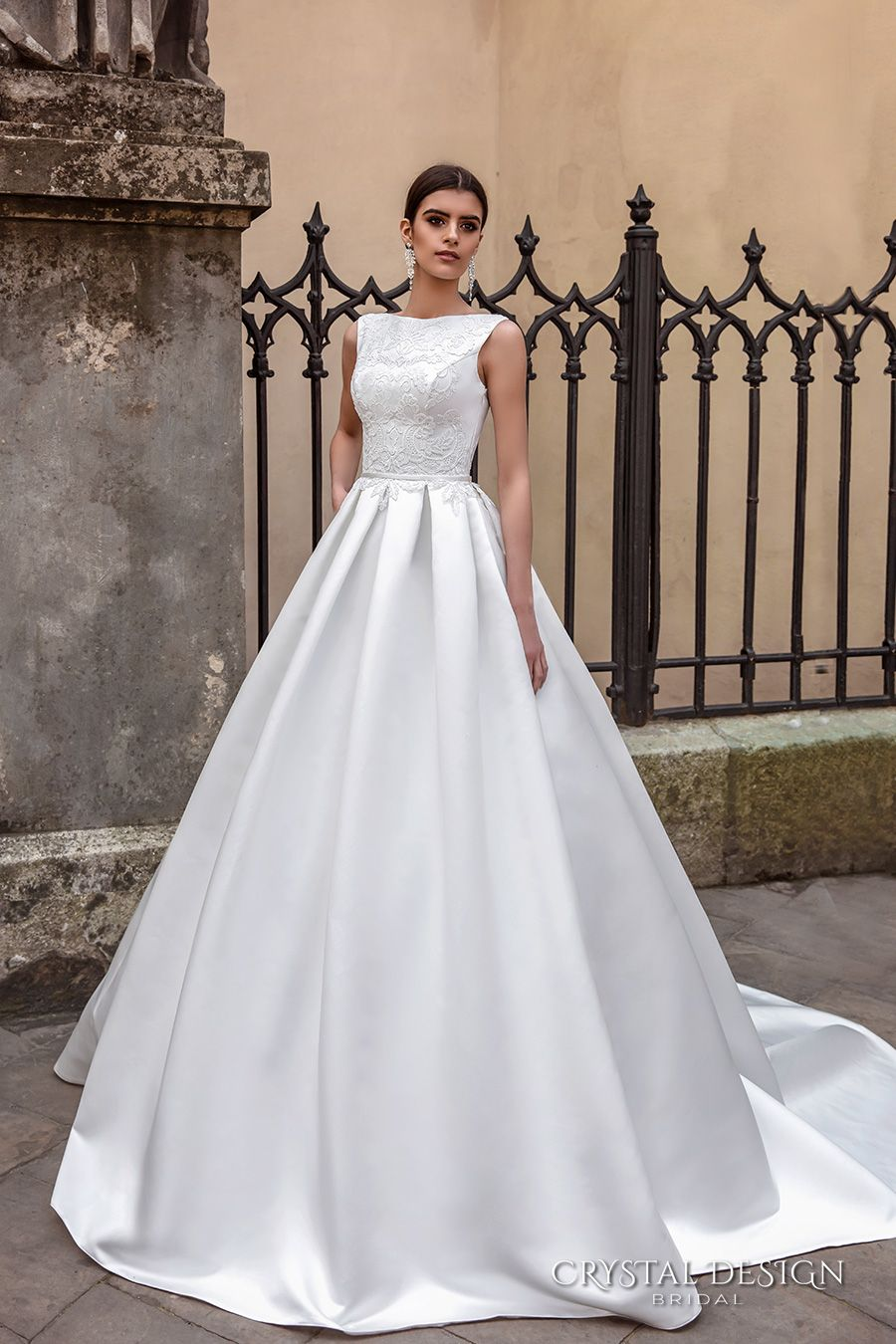 boat neck wedding dress crystal design bridal sleeveless boat neckline embroidered bodice elegant a line ball gown wedding dress